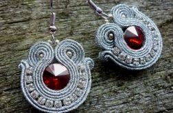 Kolczyki sutasz Shine silver and red