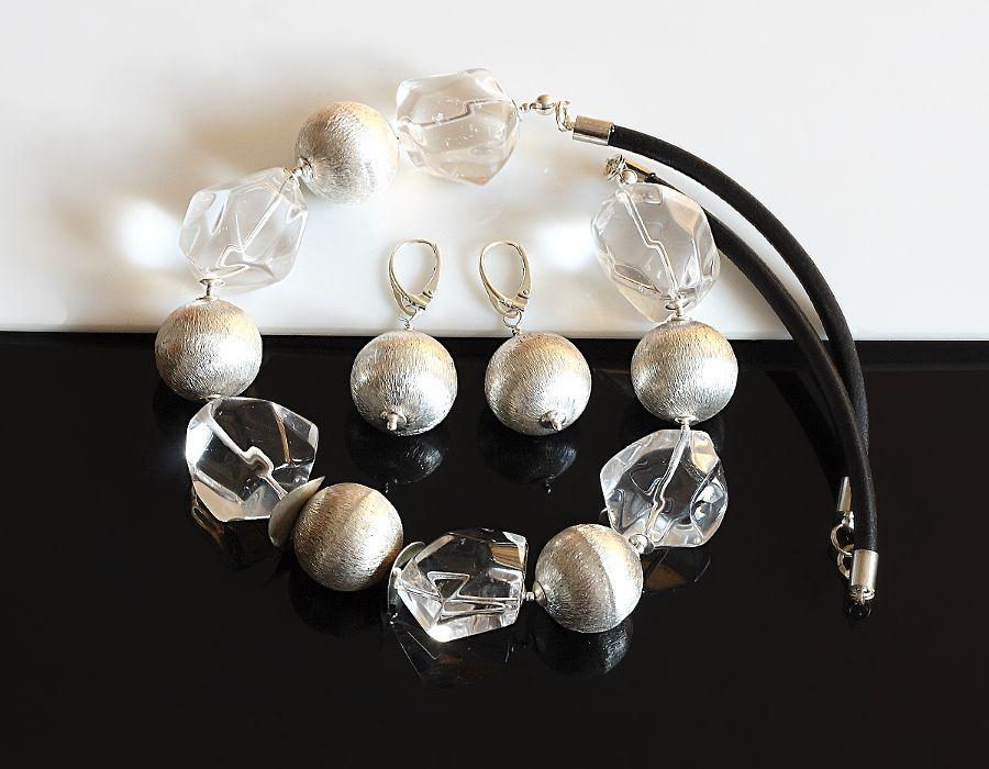 Kryształowy naszyjnik - naszyjnik z kryształu górskiego i srebra