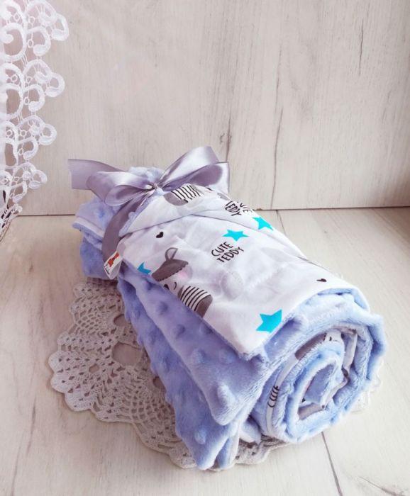 Kocyk minky + bawełna - błękitne misie