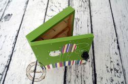 zielone pudełko na klucze pasiasty kot