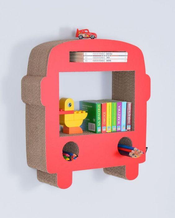 Półka na książki AUTOBUS | czerwony
