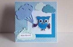 Kartka na Roczek sowa niebieska