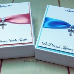 Zaproszenia na Komunię pudełka z krzyżykiem