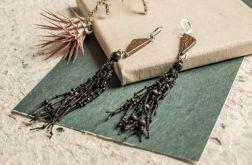 Drewniane kolczyki z czarnym lnem