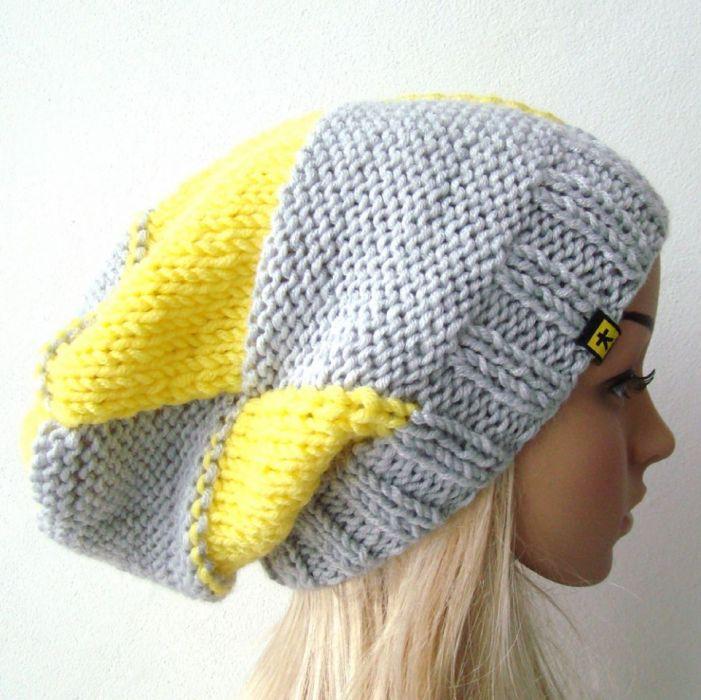 komplet 2 czapek w kratę szaro-żółtą -