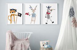 Kolorowe plakaty zwierzątek, zestaw A3