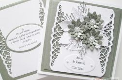 Kartka ŚLUBNA z szarymi kwiatami /Z