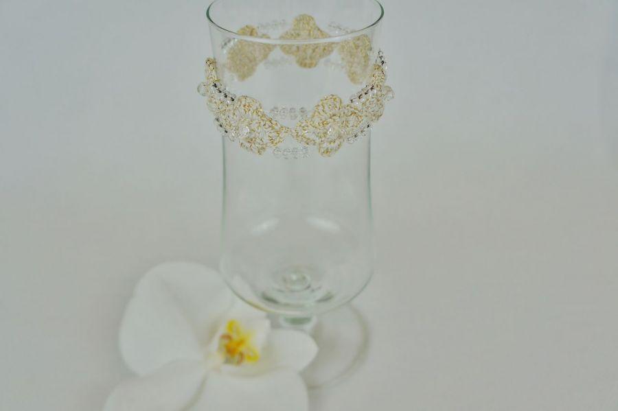 Bransoletka szydełkowa biało-złota  2,5