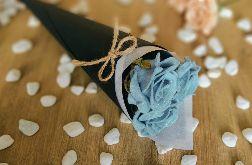 Bukiet róż z filcu - niebieski