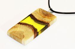 Wisior żywica i drewno prostokąt żółty