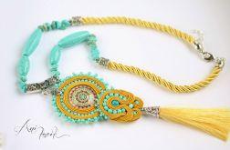 Naszyjnik w stylu BOHO z turkusami