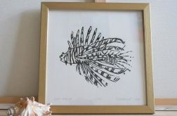 grafika skrzydlica linoryt czarna
