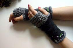 rękawiczki mitenki ręcznie szyte szare