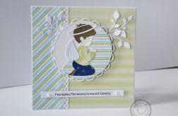 Kartka na Komunię dla chłopca z aniołkiem