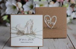 Rustykalna kartka ślubna z pudełkiem 17