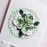 Kartka ŚLUBNA - zielone róże - Kartka na ślub z zielono-białymi różami