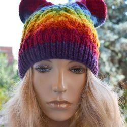 Czapka z uszami kolorowa