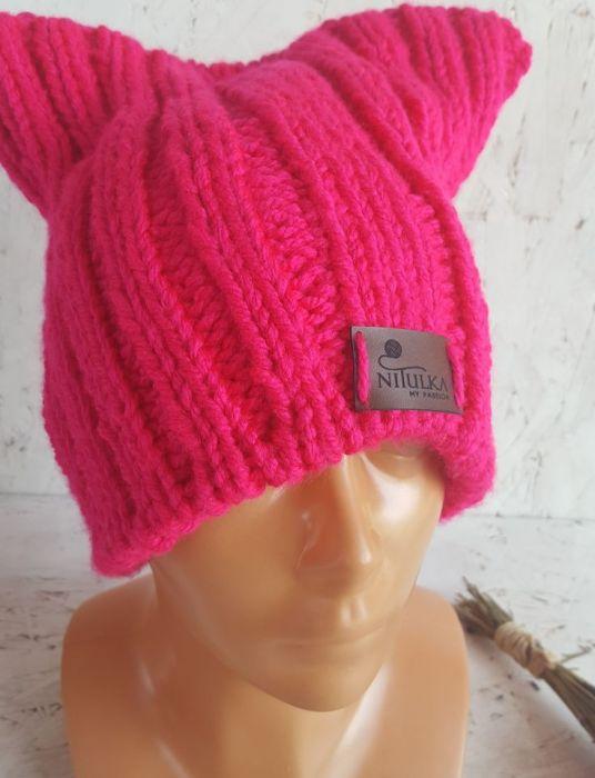 Różowa kocia czapka