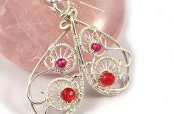 Rubin Srebrne kolczyki z kuleczkami rubinu