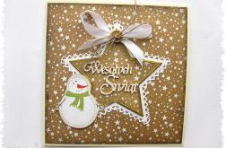 Piernikowa kartka świąteczna z bałwankiem