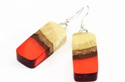 Kolczyki z żywicy i drewna bukowego czerwone