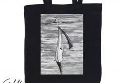 Prążki - torba z nadrukiem czarna