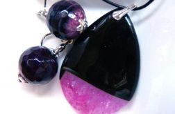 Malinowy kryształ z onyksem zestaw biżuterii