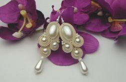 Ślubne kolczyki soutache sutasz perłowe ecru
