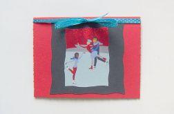 Czerwona kartka świąteczna - lodowisko n1