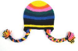 czapka kolorowa z warkoczami