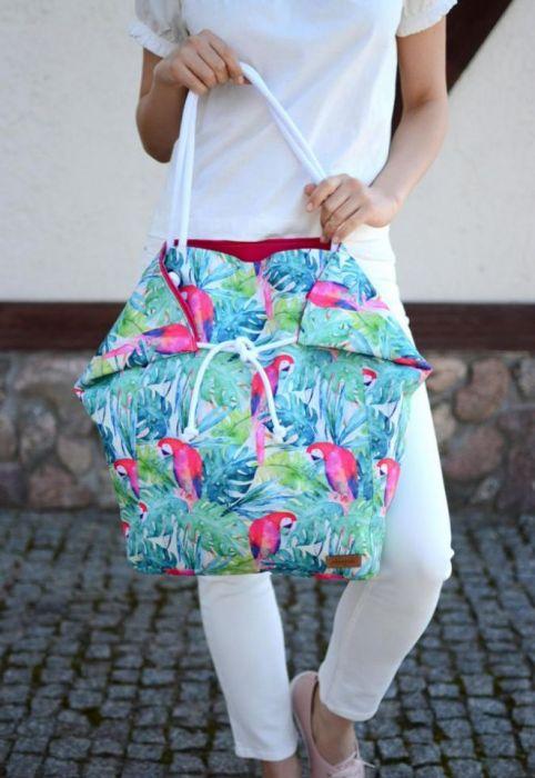 duża torba na plażę, wodoodporna w papugi - kolorowa torba