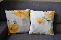 Poszewka dekoracyjna - żółto-szare kwiaty