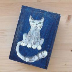 Pudełko malowane średnie - Kot w granatowym