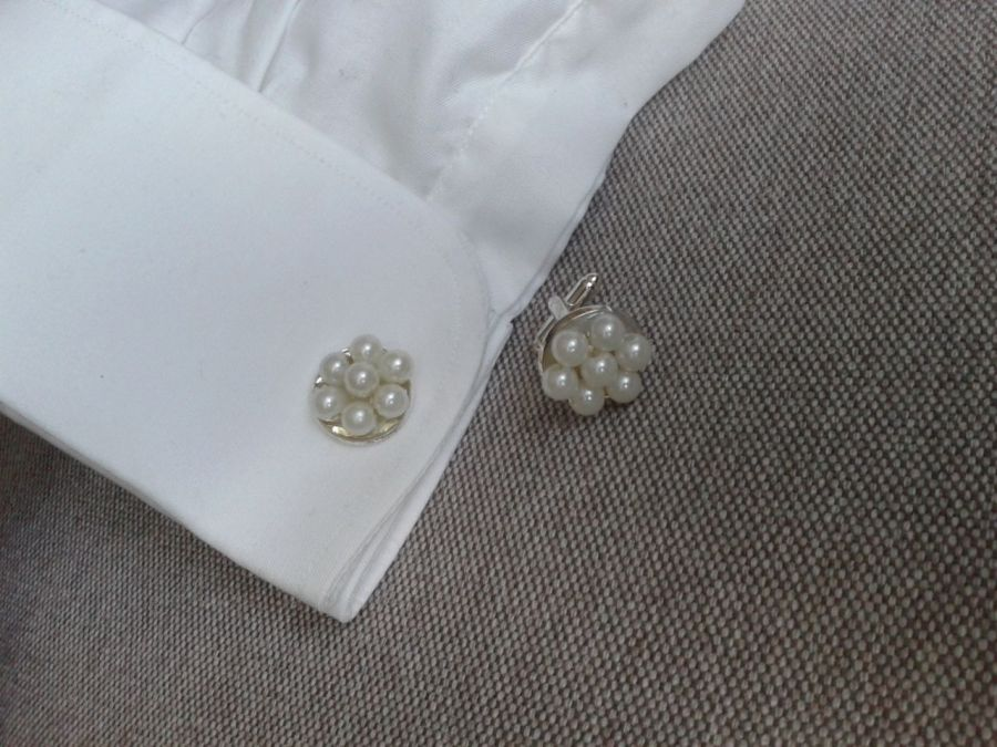 Perłowo białe spinki do mankietów