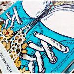 Niebieskie trampki - kartka urodzinowa -