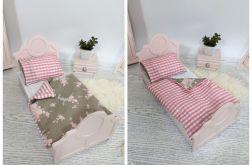 Różowe łóżko dla lalki lub misia