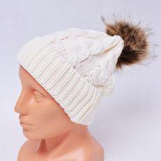 Czapka zimowa z pomponem czapka na zimę biała