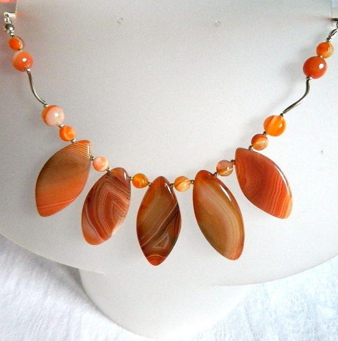 Pomarańczowy agat kolisty, piękna kolia srebr