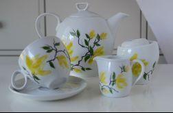 Zestaw malowany do kawy Żółta magnolia