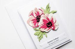 Kartka Ślubna - różowe anemony
