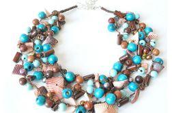 3810 naszyjnik drewno muszla perły lekki