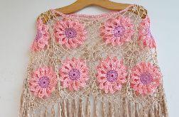 Różowe krótkie poncho