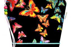 kosmetyczka - kolorowe motyle II - czarna M