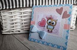 Kartka na Narodziny Roczek urodziny sowa