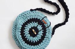Czarna niebieska okrągła torebka handmade eko