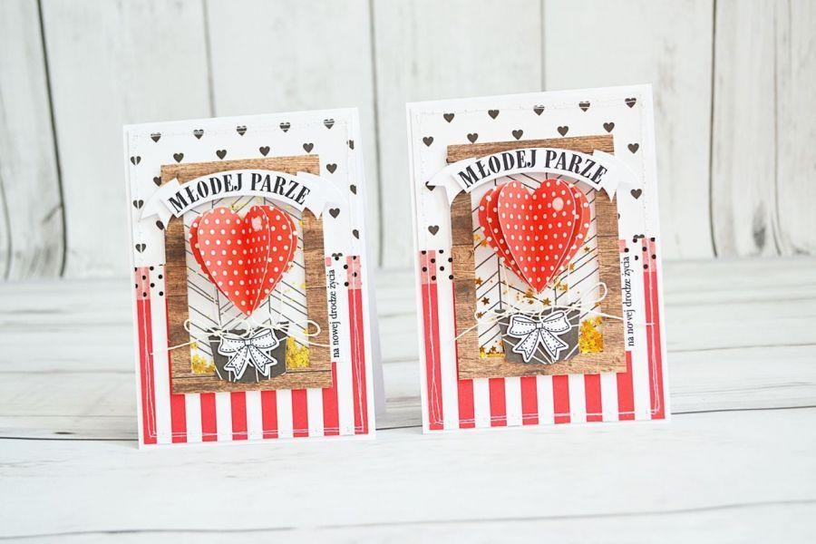 Kartka z okazji ślubu z czerwonym sercem