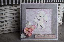 Kartka na Chrzest Aniołek kwiaty handmade