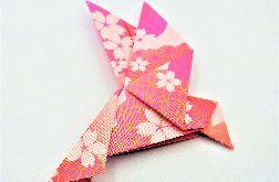 Magnes na lodówkę origami ptaszek różowo złoty