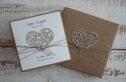 Rustykalna kartka ślubna z pudełkiem 1