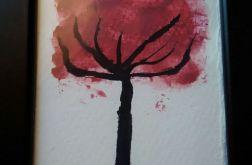 Obrazek krwawe drzewo - akwarela.